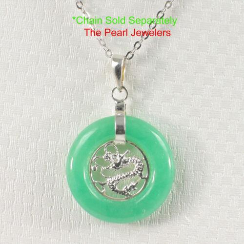 Solid Sterling Silver 925 Dragon Design 20mm Green Jade Lucky Pendants TPJ