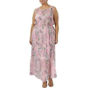 Plus Size Maxi Dress Soft Pink Floral Print Capped