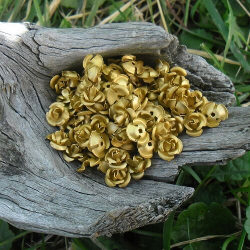 roses métal aluminium 9 Doré 5 mm 90 perles fleurs