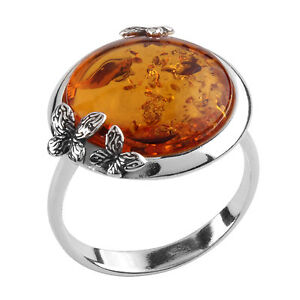 Honey Baltic Amber Sterling Silver Ring 4IaOleo