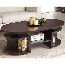 Furniture of America Modern Elliptical Multi-Shelf Walnut Coffee Table Decor NEW