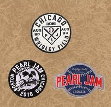 PEARL JAM Wrigley Field Chicago Cubs Three Patch Baseball Set August 2016 New