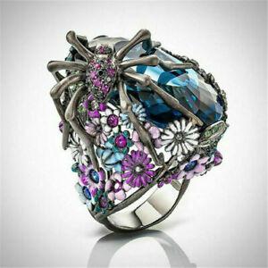 Turkish-Punk-Handmade-925-Silver-Flower-Spider-Sapphire-Biker-Ring-Jewelry-Gift