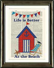 OLD BOOK PAGE ART PRINT - Beach Hut Seaside Deckchair Dictionary Page Wall Art