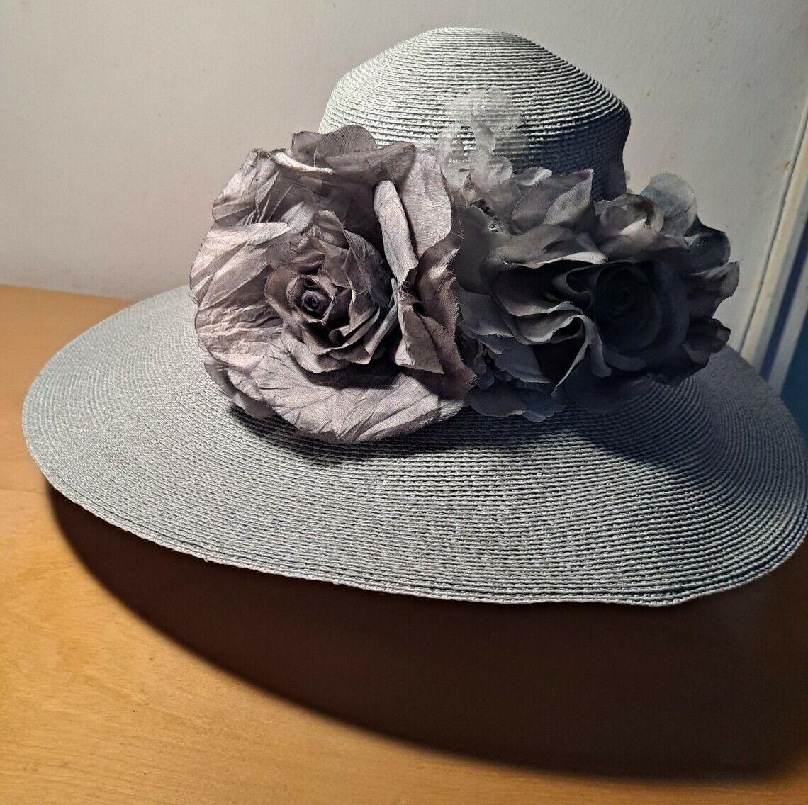 Vtg Patricia Underwood Pale Aqua Straw Hat/Gray S… - image 2