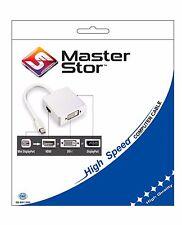 Masterstor Mini Displayport to VGA HDMI DVI Adapter Cable Apple MacBook White