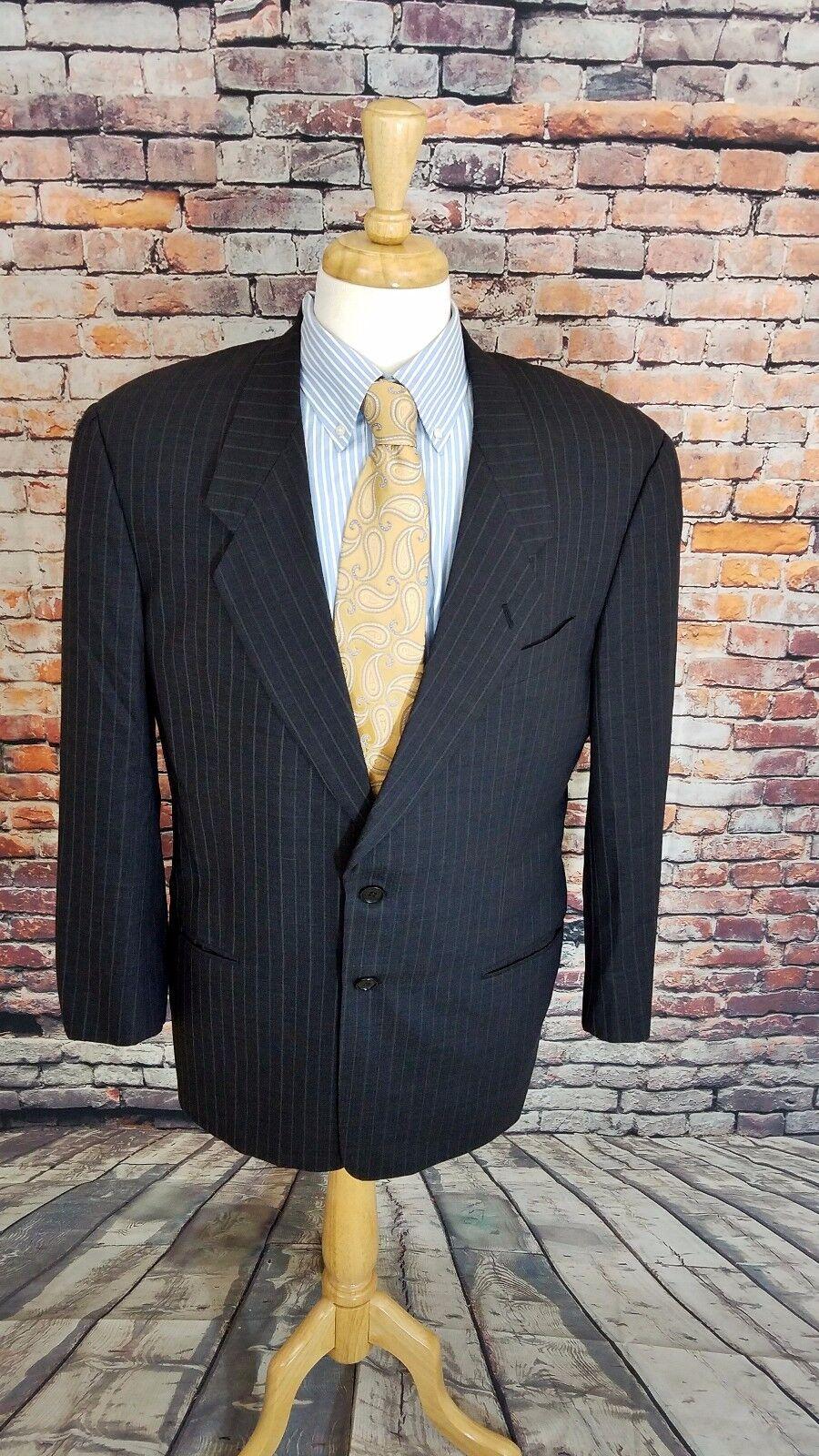 Armani COLLEZIONI ITALY 41R  WOOL 2 BTN Charcoal Grey Stripe Blazer Sport Coat