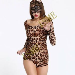 Image is loading Sexy-Lingerie-Set-Siamese-girl-cosplay-Halloween-Leopard- 6f09a0e8fef