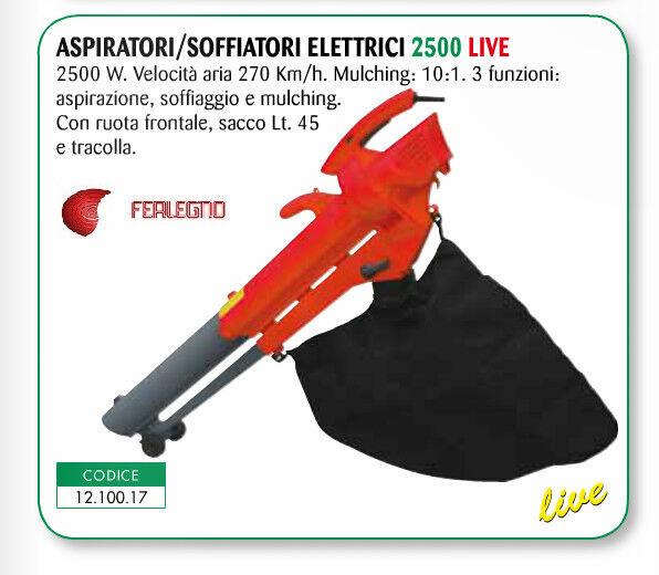 ASPIRATORE SOFFIATORE ELETTRICO 2500W 3 FUNZIONI CON SACCO 45 LITRI LIVE 2500