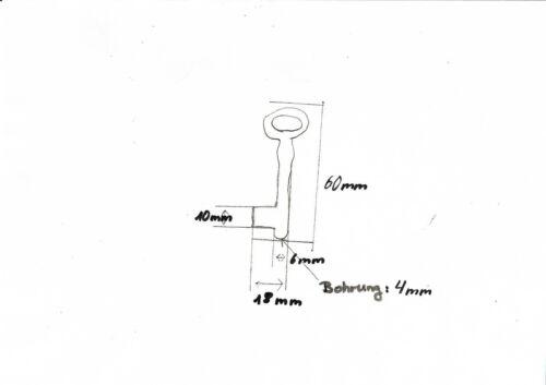 1 x 10 er Pack 10 x Schlüßel,Schlüssel Rohling weibchen 60 mm mit LochEisen