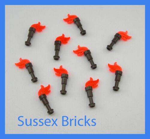 LEGO 10x TORCE Marrone con fiamme-castello Hobbit LOTR Pirati dei Caraibi