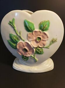 VTG Hull USA Pottery Heart Shaped Vase Flowers Rosella Mid Century Sweetheart