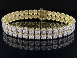 cc49c8ab266ee Details about Men's Ladies 10K Yellow Gold 2 Row 5CT Genuine Diamond  Bracelet 8