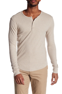 VINCE-MEN-039-S-OATMEAL-LONG-SLEEVE-RIBBED-HENLEY-SHIRT-Sz-XXL