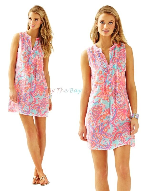 168.00 NWT LILLY PULITZER SLEEVELESS SARASOTA TUNIC DRESS DRESS DRESS PINK POUT TOO MUCH BUB 5a4f40