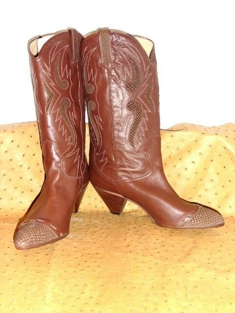 SUPERB BOOT WESTERN BIONDINI ALL BROWN LEATHER VINTAGE 80 NEW T. 40.5