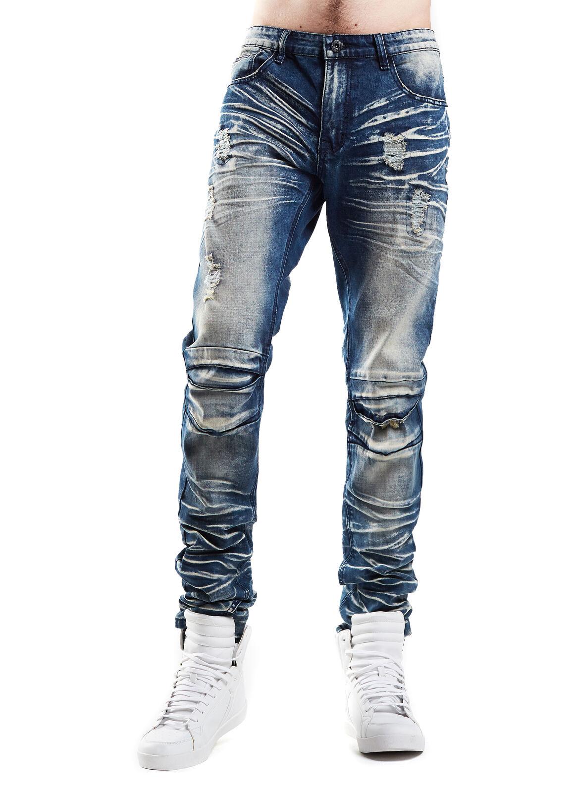 Smoke Rise Men's Stretch Slim Basic Split Knee Denim Jeans