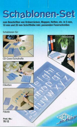 WEDO 4 Stück Schriftschablonen Set Schrifthöhen 5 mm 10 mm 20 mm