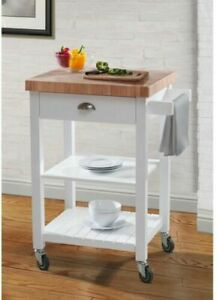 Bedford White Kitchen Cart With Butcher Block Top Drawers Shelving Rolling