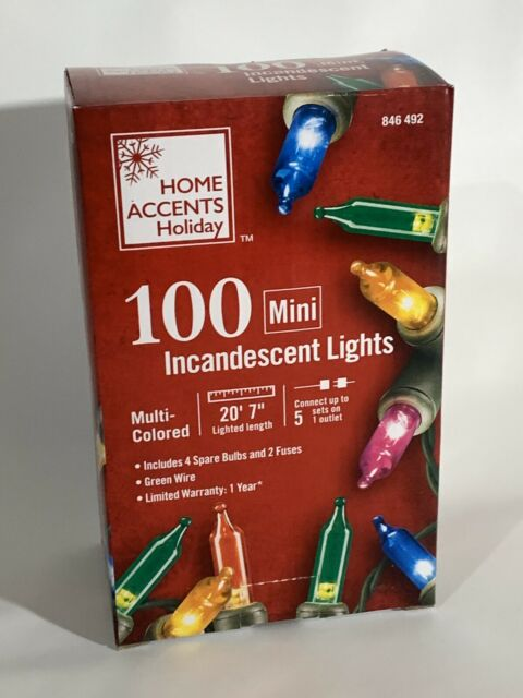 Home Accents 100 Red Mini Lights With Green Cord **Brand New**