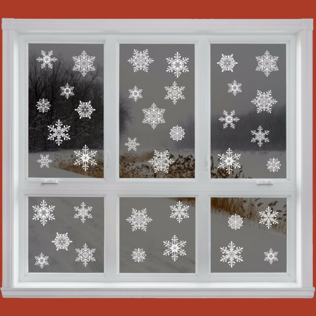 42 elegant snowflake window clings reusable stickers christmas decorations decal - Christmas Window Stickers