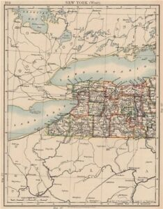 Details about NEW YORK STATE WEST. Map showing counties & railroads.  Niagara. JOHNSTON 1906