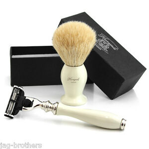 WHITE-Badger-Hair-Brush-in-IVORY-COLOUR-KNOT-LUXURY-RAZOR-in-ivory-colour-GIFT