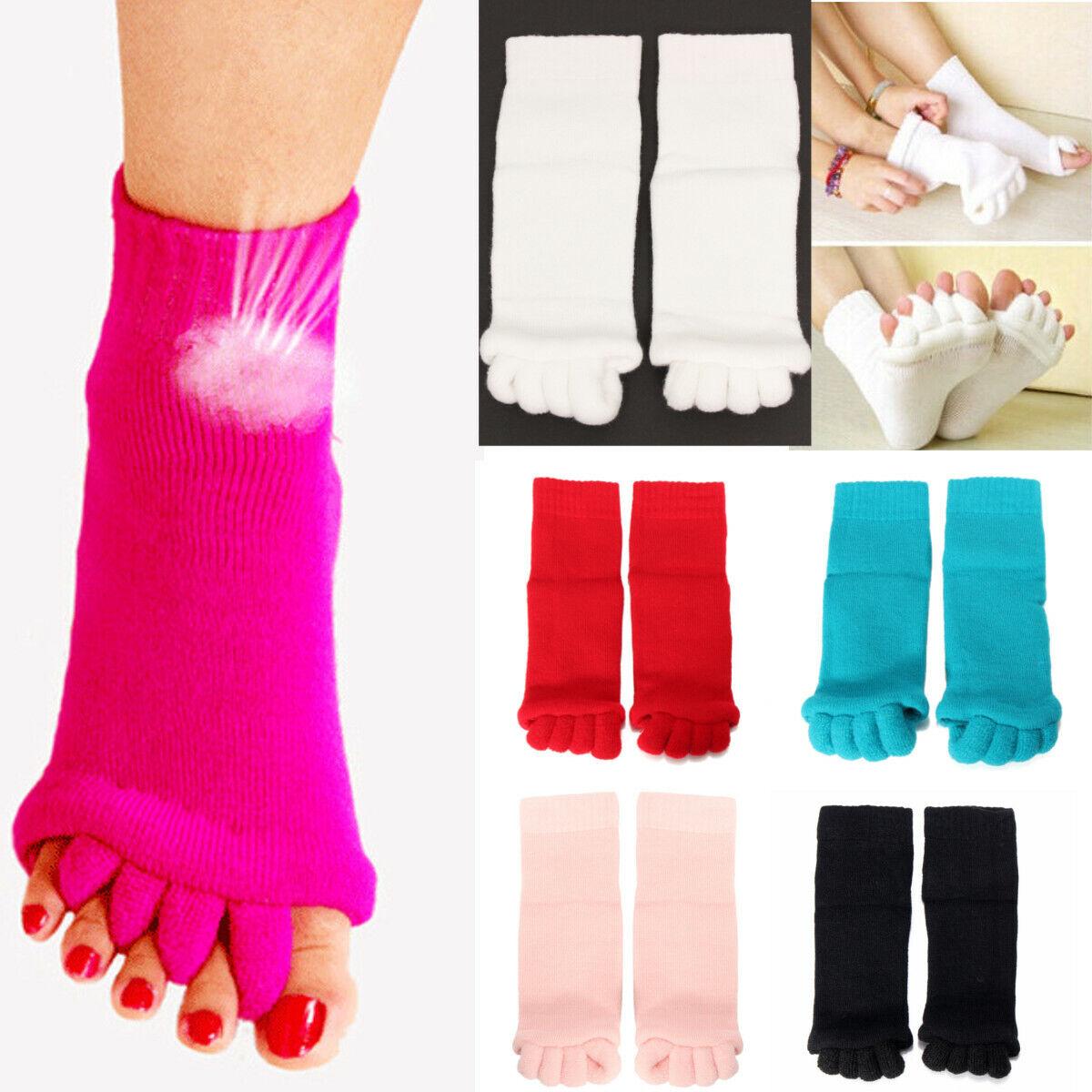 1Pair Toe Separator Straightener Massage Socks Bunion Foot A