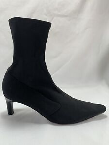 Cole Haan Black Stretch Fabric Ankle Boots, Brazil, Size 9.5