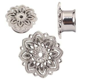 Silver lotus flower ear plug tunnel ear flesh tunnels gauge plugs image is loading silver lotus flower ear plug tunnel ear flesh mightylinksfo