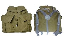 1950s Vintage Ex-Army Backpack Khaki Canvas Grey Harness Hiking Rucksack Retro