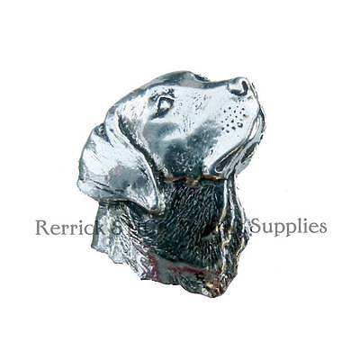 ONE PEWTER BADGE FOR WALKING STICK MAKING SPANIEL HEAD
