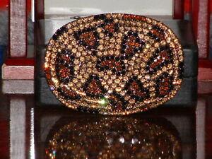 Pre-Owned-Snake-Pattern-Rhinestone-Gold-amp-Brown-Color-Belt-Buckle