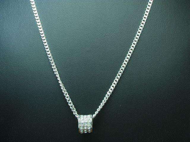 925 silver Kette & Anhänger mit Glasstein Besatz   Echtsilver   50,0cm   12,4g
