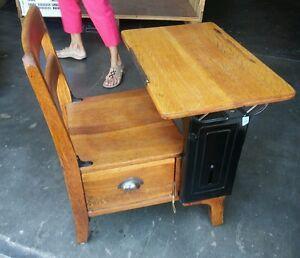 Image Is Loading 023 Antique School Desk Chair Langslow Fowler Wood