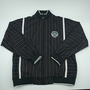 Enyce-Mens-Black-Long-Sleeve-Striped-Zip-Up-Jacket-Size-Large