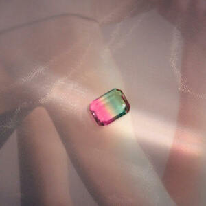 Bi-Color-Non-Natural10x8mm-Watermelon-Tourmaline-Emerald-Cut-Loose-Gemstone-DEW