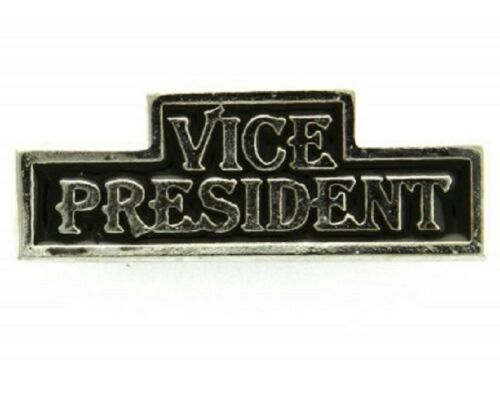 """#041 VICE PRESIDENT Silver-plated Pewter Vest CLUB Pin 1.75/"""" x 0.75/"""" J942"""