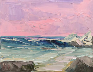 Winter-Warmth-Two-Original-Expression-Seascape-Oil-Painting-8x10-100818-KEN