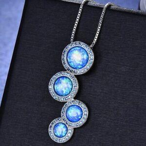 925-Silber-Halskette-runde-Opal-Weiss-amp-Blau-Anhaenger-Damen-Luxus-Schmuck-NEU
