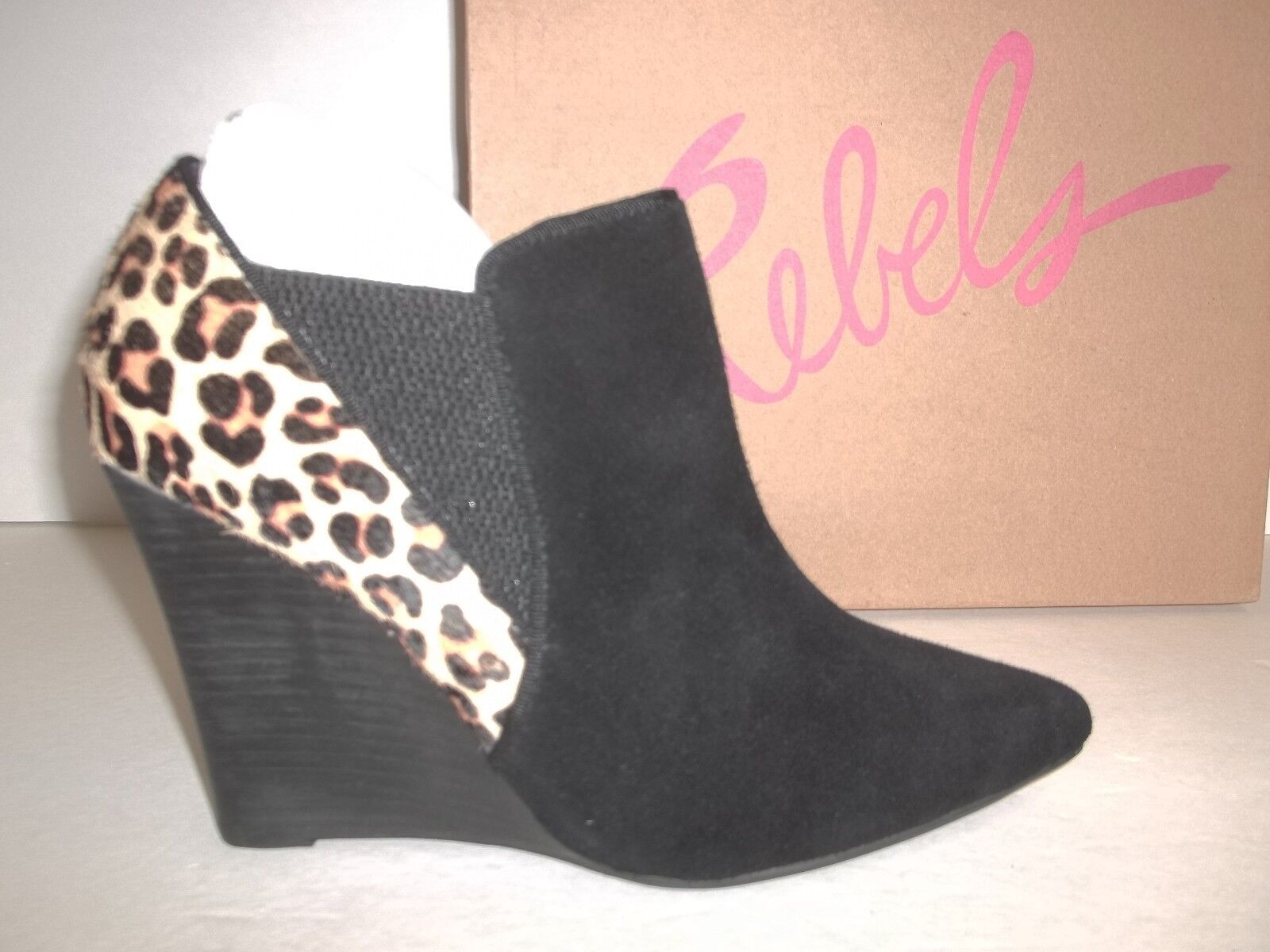 Rebels Size 6 M Fairmont Black Leopard Leather Booties Boots New Womens Shoes