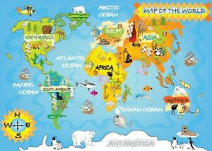 World map for kids bedroom poster art print a0 a1 a2 a3 a4 a5 maxi image is loading world map for kids bedroom poster art print gumiabroncs Images