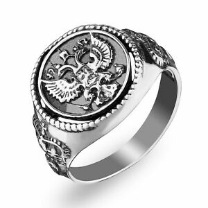Mia Diamonds 925 Sterling Silver Solid and 12K Antiqued Eagle Mens Ring