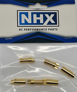 NHX-5-5mm-Gold-Plated-Bullet-Adapter-Connector-Male-Female-3Pairs-Bag