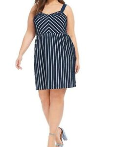 Loft Sleeveless Cotton Blend Striped Forever Navy Fit And