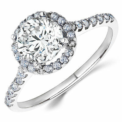 14K White Gold White CZ Halo Engagement Ring 1 Ct. (Birthstones Available)