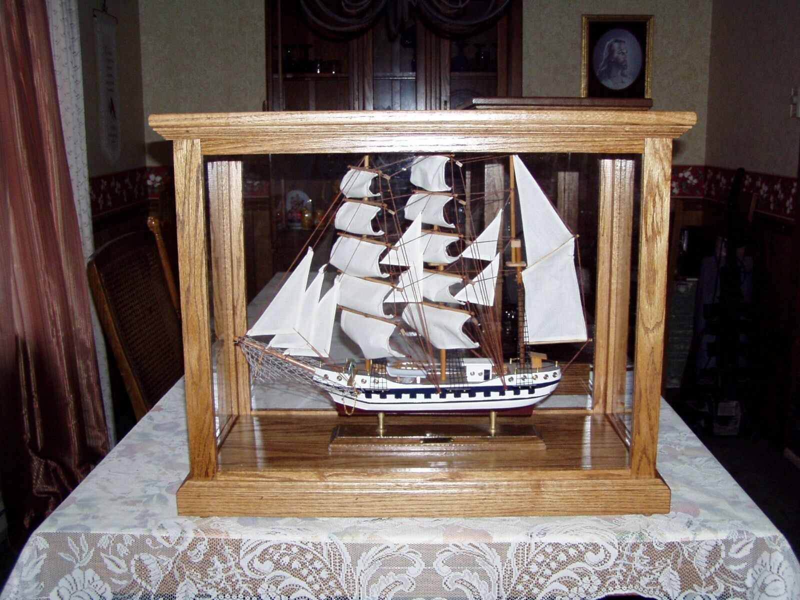 Model Ship Display Case Collectible Display Cabinet Oak Wood Model Car Case
