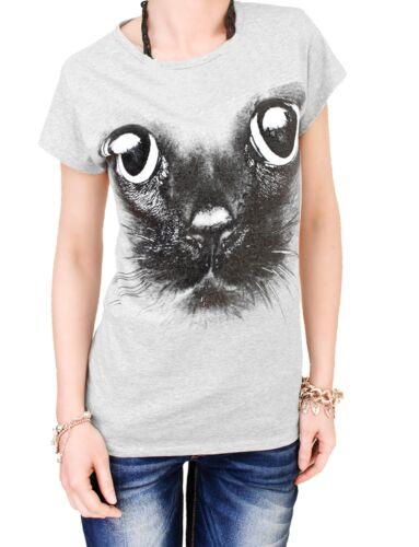 Damen T-Shirt Druck Katze Baumwolle Motivshirt Top Spruch schwarz oder grau