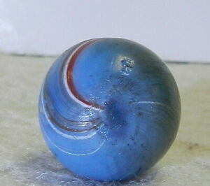 11982m-Vintage-German-Handmade-Blue-Base-Banded-Opaque-Marble-67-Inches