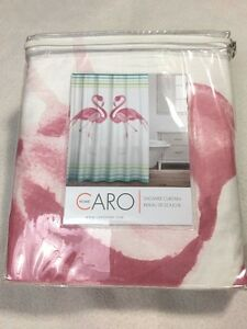 Image Is Loading NEW Caro Home Flamingo Stripe Shower Curtain Coastal